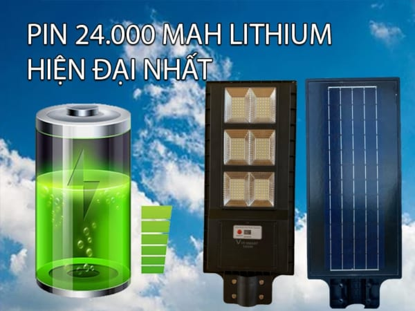 Pin 24.000 Mah đèn đường 150w liền thể solar light