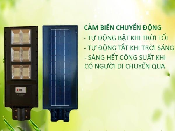 cảm biến chuyển động, tự động bật tắt của đèn 150w solar light pin liền thể