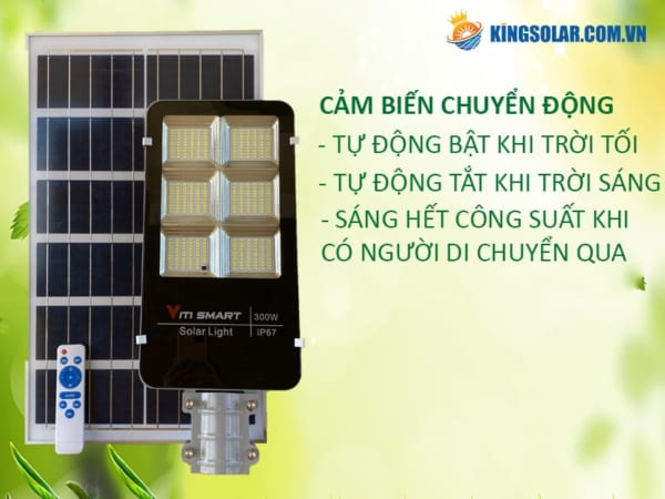 Cảm biến tự động bật tắt đèn đường 300W solar light