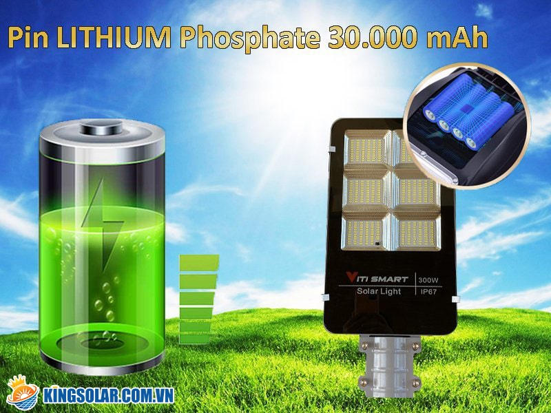 đèn năng lượng mặt trời 300w thời gian chiếu sáng liên tục 12-16 giờ