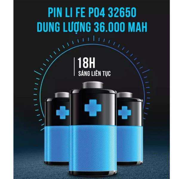 Dung lượng Pin 36000 Mah đèn đường 300w army