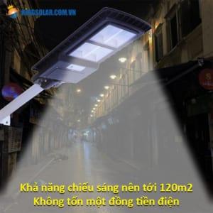 Khả năng chiếu sáng lên 120 m2 đèn đường 150w solar light pin liên