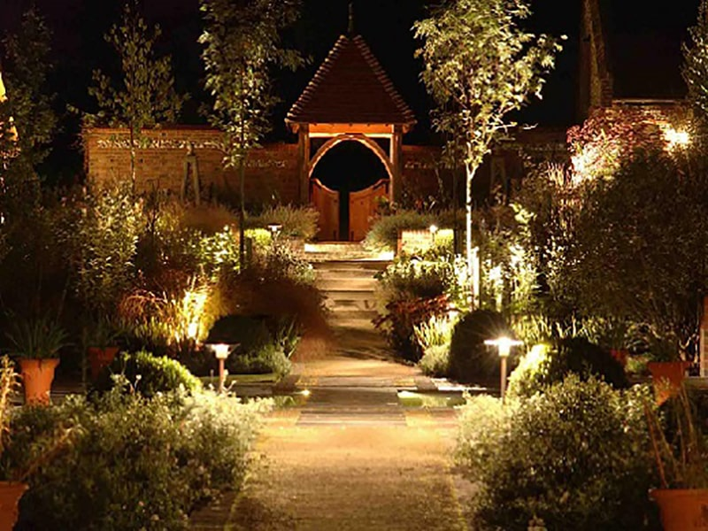 lắp đặt đèn trang trí sân vườn ở gốc cây