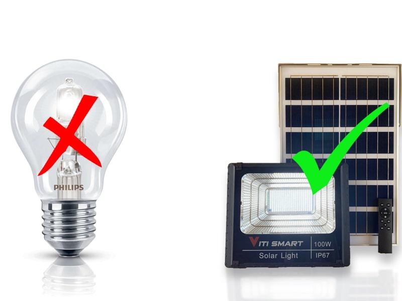 so sánh điện năng tiêu thụ giữa đèn led năng lượng mặt trời và đèn sợi đốt