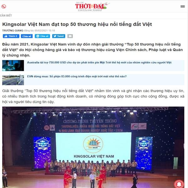 Kingsolar Việt Nam lên top 50 thương hiệu nổi tiếng Đất việt