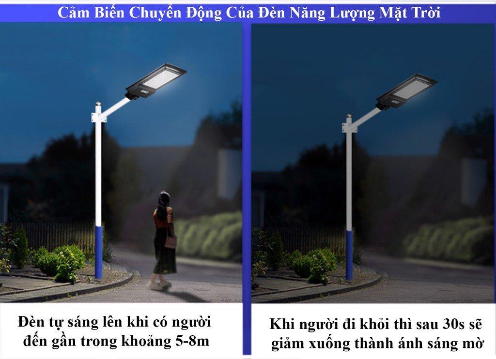 bóng đèn đường năng lượng mặt trời cảm biến nhận dạng chuyển động thông minh