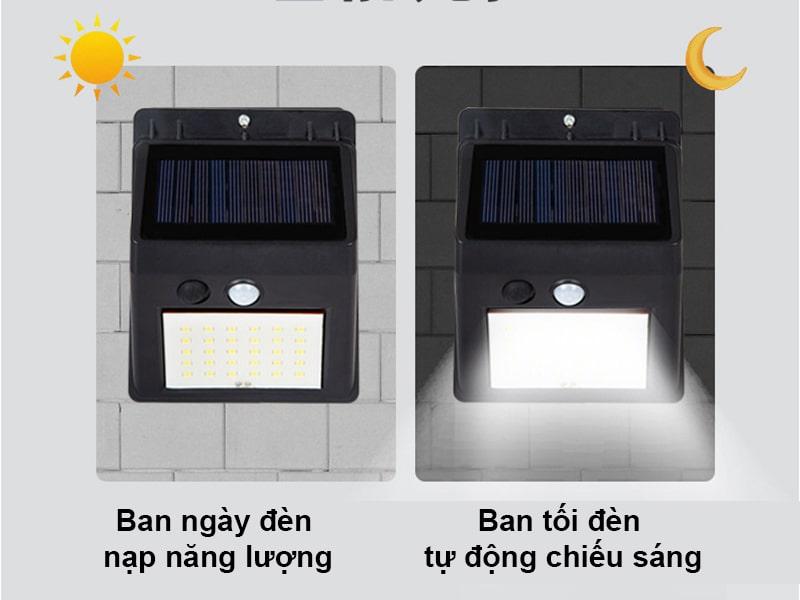 chế độ cảm biến ánh sáng đèn treo tường năng lượng mặt trời