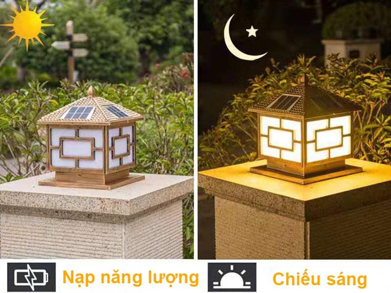 chế độ cảm biến của đèn năng lượng mặt trời trụ cổng