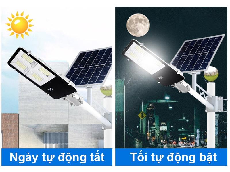 đèn đường năng lượng mặt trời 300w cảm biến ánh sáng thông minh