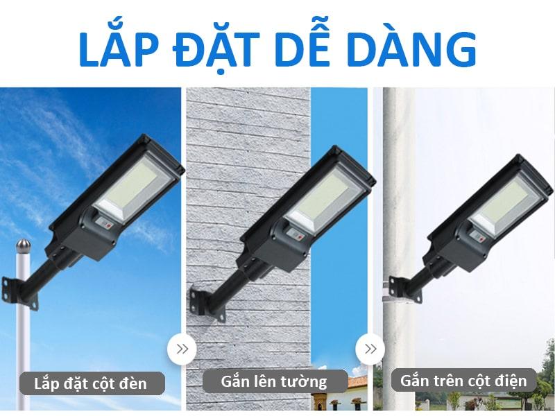 đèn năng lượng mặt trời 200w liền thể dễ dàng lắp đặt