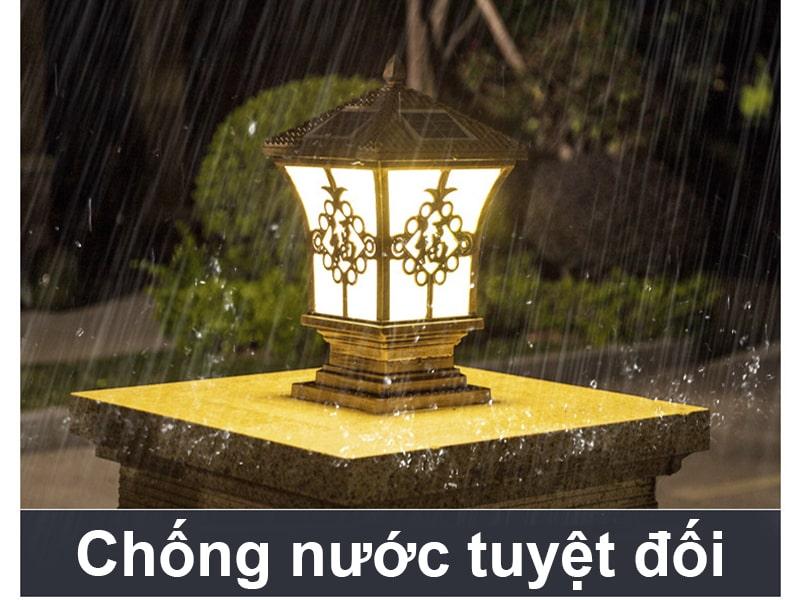 đèn năng lượng mặt trời gắn cổng chống nước tuyệt đối