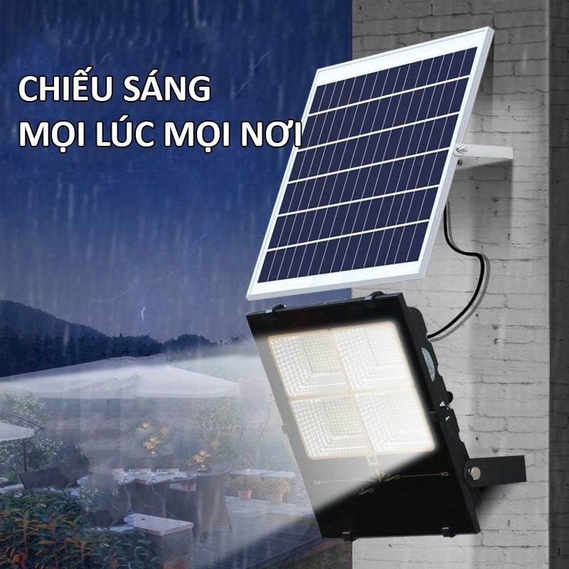 đèn pha 200w năng lượng mặt trời chiếu sáng cả khi bị cúp điện