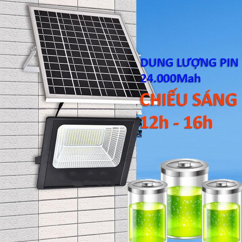 đèn pha solar light 100w chiếu sáng liên tục 12h - 16h