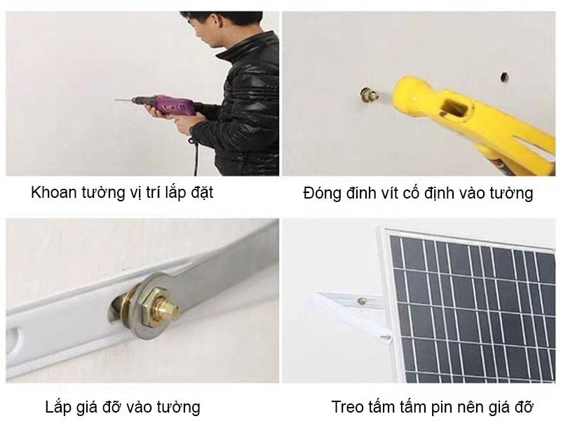 hướng dẫn lắp đặt đèn pha năng lượng mặt trời 100w