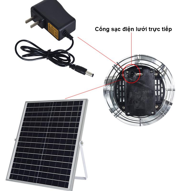 quạt năng lượng mặt trời còn được trang bị bộ sạc điện trực tiếp